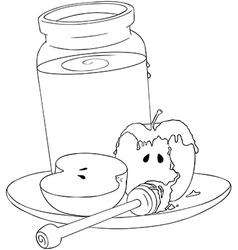 Rosh hashanah honey jar and apples coloring page vector