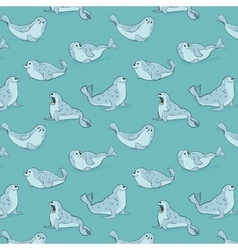 seamless pattern with hand-drawn blue seals vector image vector image