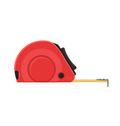 self-retracting tape measure red ruler vector image