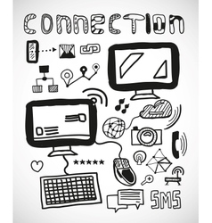 Set of hand drawn connection doodles vector image vector image
