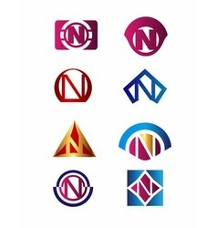 Set of letter N logo Branding Identity Corporate vector image