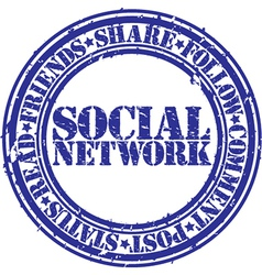 social network stamp vector image