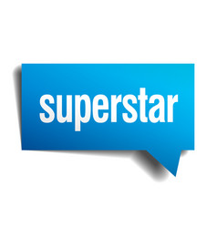 Superstar blue 3d realistic paper speech bubble vector