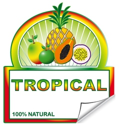 Tropical label for marketplace vector