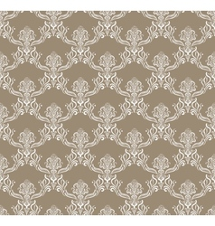 White royal flower seamless pattern on brown vector