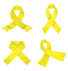 Yellow awareness ribbons vector image