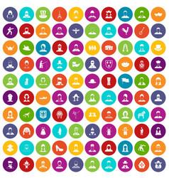 100 folk icons set color vector