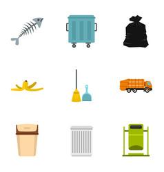 waste utilization icons set flat style vector image
