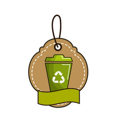 label with can trash and ribbon inside vector image