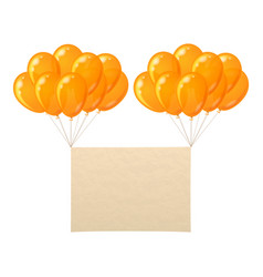 balloons bunch with paper sheet vector image
