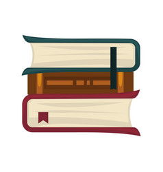 Books pile of three with bookmarks isolated on vector