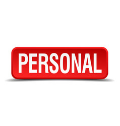 Personal red 3d square button isolated on white vector