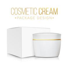 cream jar with package box clean cardboard vector image