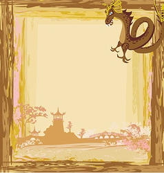 Abstract card with a chinese dragon vector