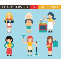 Housewife characters icon set symbol with vector