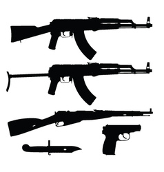 silhouettes of firearms vector image