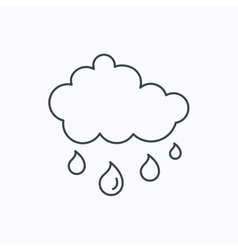 Rain icon water drops and cloud sign vector