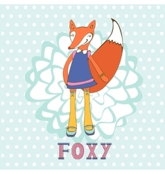 So foxy elegant concept card with fox character vector