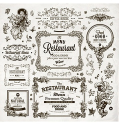 Vintage restaurant label set vector