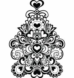 Heart flowers emblem vector