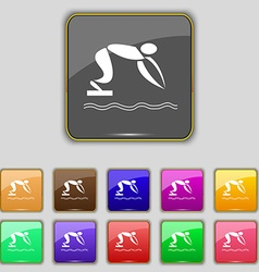 Summer sports diving icon sign set with eleven vector
