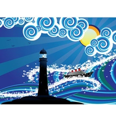Lighthouse and boat in the sea3 vector