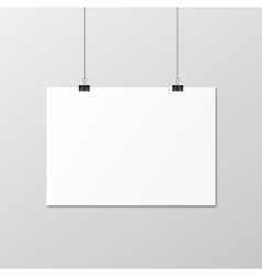 White vertical poster a4 on a rope vector