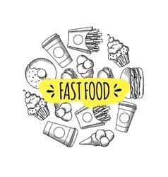 Fast food set of cartoon background vector