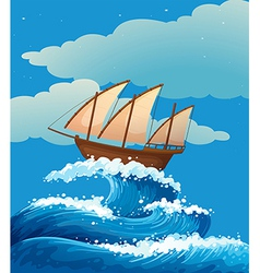 A ship above the giant waves vector image vector image