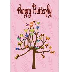 Art tree with butterflies vector