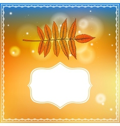 Autumn card with falling leaf and bokeh lights vector