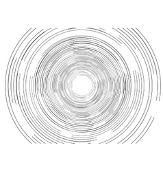 Black round tech circles outline drawing design vector