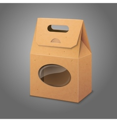 Blank realistic craft paper packaging bag with vector image vector image