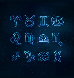 blue transparent zodiac signs vector image vector image