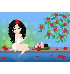 brunette girl in spa vector image vector image