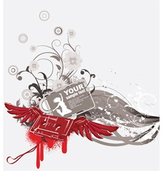 cassette with wings and grunge vector image vector image