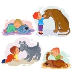 Clip art of little boys and their vector