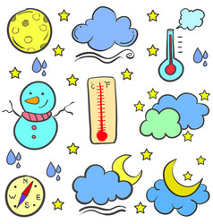 Collection stock of weather object doodles vector