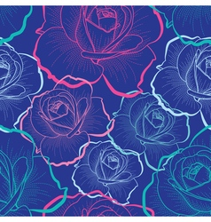Color outline roses on blue seamless pattern vector
