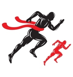 concept running male athlete at the finish with vector image