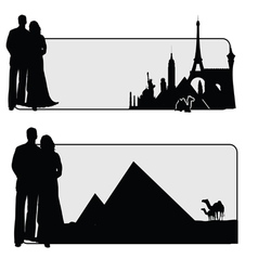 Couple with famous monument vector