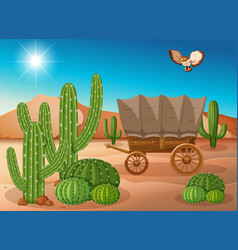 Desert scene with wagon and cactus vector