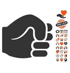fist icon with love bonus vector image
