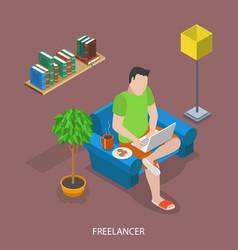 Freelancer flat isometric concept vector