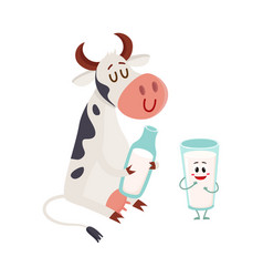 Funny smiling farm cow sitting glass of milk vector