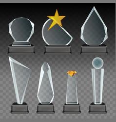 glass transparent trophy and award set vector image