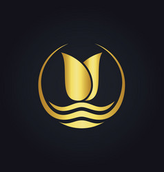 Gold beauty flower abstract logo vector
