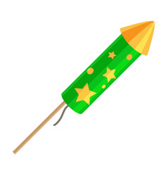 Green exploding rocket with golden stars isolated vector
