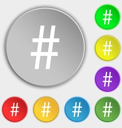 Hash tag icon symbols on eight flat buttons vector