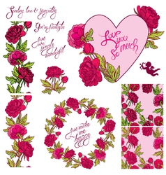 heart flower set 380 vector image vector image
